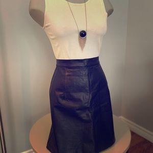 Vintage black genuine leather high waist miniskirt